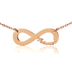 Infinity Namen Halskette in Rosa Gold