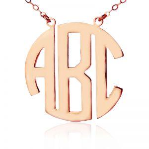 Solid Rose Gold Initial Block Monogram Pendant Necklace