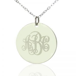 Solid White Gold Vine Font Disc Engraved Monogram Necklace