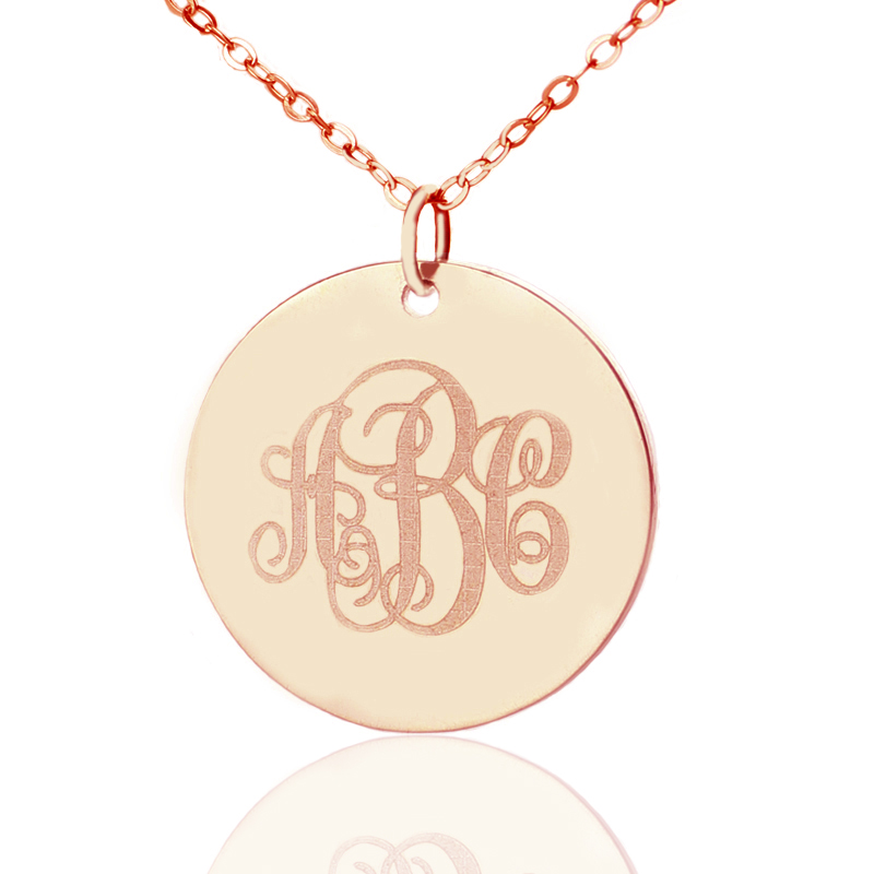 8cb0ec4d3c162f Solid Rose Gold Vine Font Disc Engraved Monogram Necklace