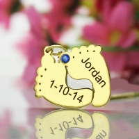 Birthstone Memory Baby Feet Charms with Date & Name Gold