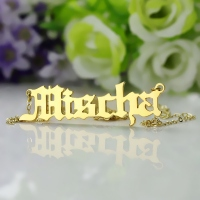 Collectable Unique Necklace-Mischa Barton Old English Font Name Necklace Solid Gold 10k 14k 18k