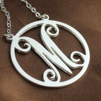 Solid White Gold Single Initial Circle Monogram Necklace