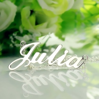 Solid White Gold Julia Style Name Necklace