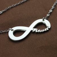 Fancy Solid White Gold Infinity Name Necklace