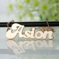 Personalized Solid Rose Gold BANANA Font Style Name Necklace