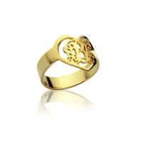 heart monogram ring