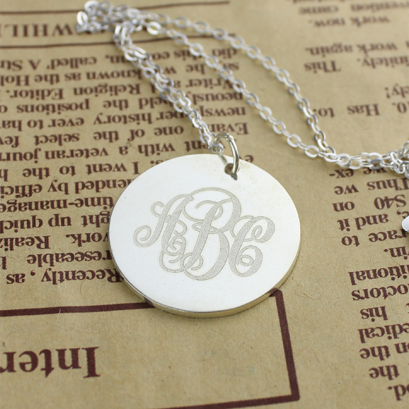 Solid White Gold Vine Font Disc Engraved Monogram Necklace