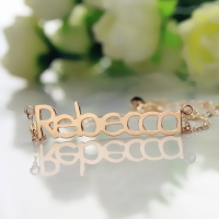 Solid Rose Gold Rebecca Style Name Necklace