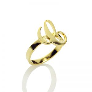 Personalized Carrie Initial Letter Ring 18k Gold Plated