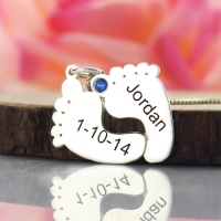 Personalized Memory Feet Necklace with Date & Name Sterling Silver