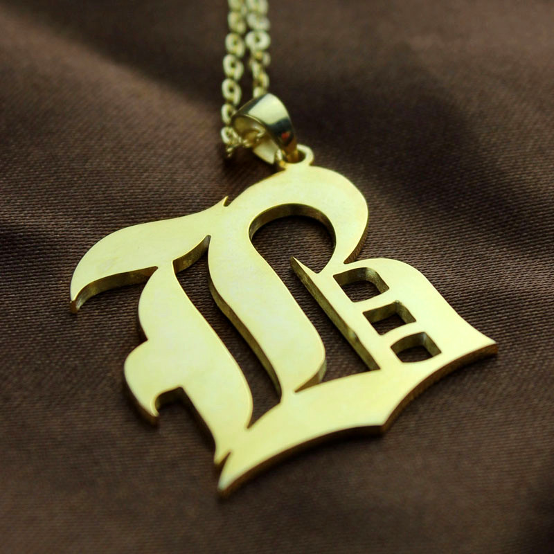 Solid Gold Old English Style Single Initial Name Necklace
