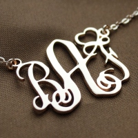 Personalized Initial Monogram Necklace Solid Rose Gold With Heart