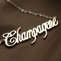 Solid Rose Gold Personalized Champagne Font Name Necklace