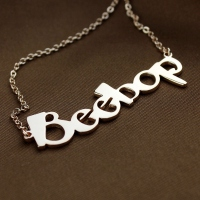 Charming Solid Rose Gold Personalized Beetle Font Letter Name Necklace