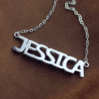 Attractive Solid White Gold Jessica Style Name Necklace