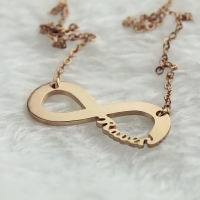 Lovely Solid Rose Gold Infinity Name Necklace