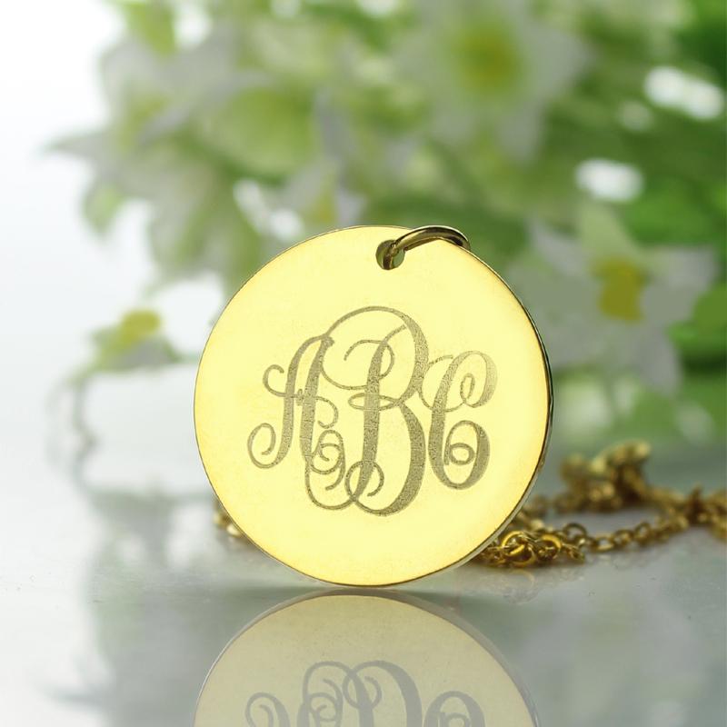 solid gold vine font disc engraved monogram necklace