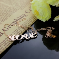 Solid Rose Gold Capital Puff Font Name Necklace