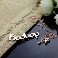 Solid Rose Gold Personalized Beetle Font Letter Name Necklace
