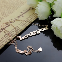 Cute Cartoon Ravie Font Solid Rose Gold Name Necklace