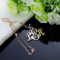 Personalized Vine Font Initial Monogram Necklace Solid Rose Gold
