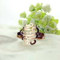 Monogram Cuff Bracelet Hand Writing Rose Gold