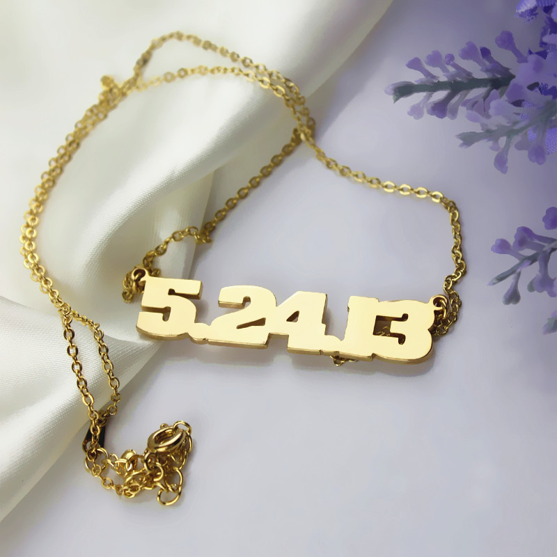Customizable Gold Plated Silver Number Necklace