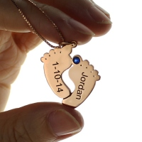 Engraved Baby Feet Imprint Necklace with Date & Name Rose Gold