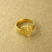 circle monogram ring