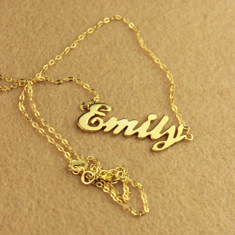 Cursive Script Name Necklace Solid Gold