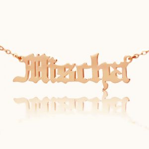 Custom Old English Font Name Necklace Solid Rose Gold