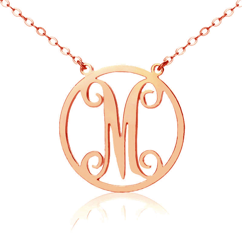 Solid Rose Gold Single Initial Circle Monogram Necklace