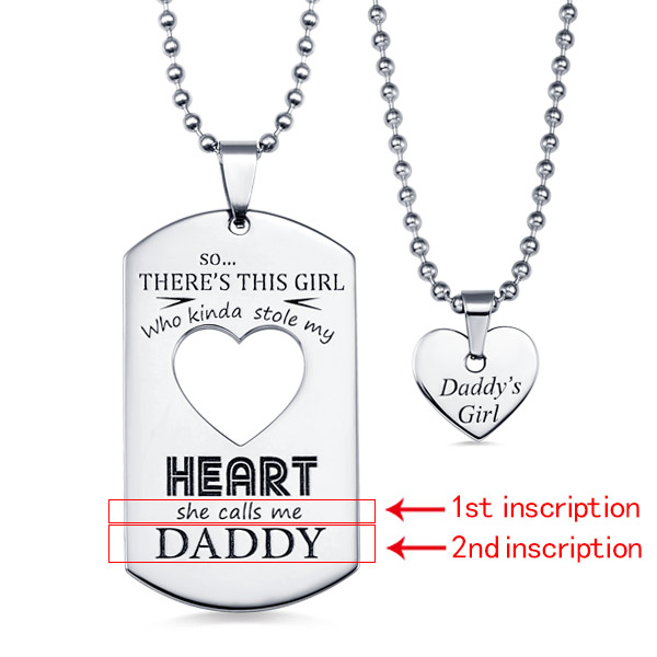 Personalized Couples Dog Tag Necklace With Cut Out Heart