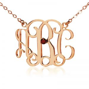 Celebrity Monogram Initial Necklace Engraved Birthstone Rose Gold