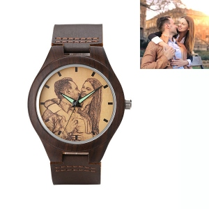 Engraved Classic Wooden Photo Watch