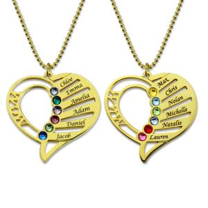 Engraved Heart Mother Birthstones Necklace Gold Plated Silver
