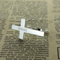 Two-finger Cross Ring Engraved Custom Name Sterling Silver