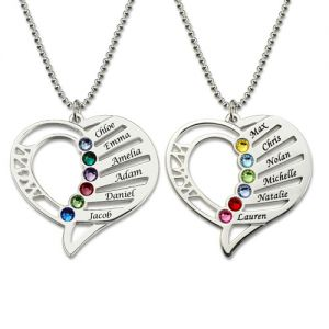 Unique Engraved Heart Mother Birthstones Sterling Silver Necklace
