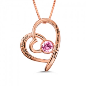 Custom Engravable Birthstone Necklace For Grandma In Rose Gold