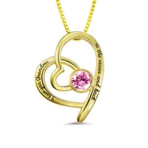 Significant Custom Birthstone Heart Necklace for Grandma Gold Plated