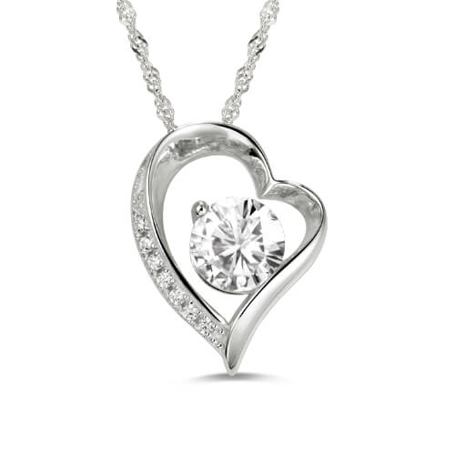 Heart Shaped Personalized Birthstone Necklace Sterling Silver