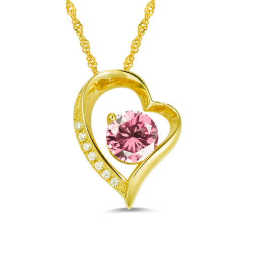 Personalized Cubic Zirconia Heart Necklace Gold Plated