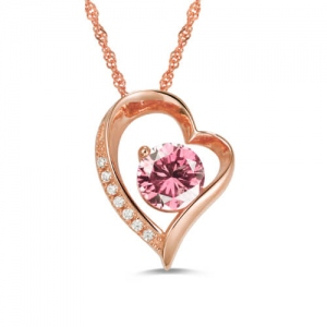 Personalized Birthstone Heart Love Necklace In Rose Gold