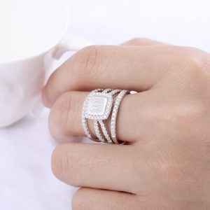 Custom Engraved Stacking Monogram Ring Sterling Silver