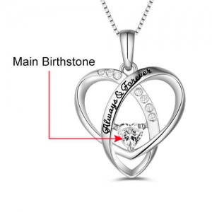 "Personalized ""Always & Forever"" Heart Necklace"