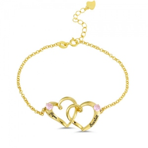 Custom Double Heart Engraved Bracelet Gold Plated