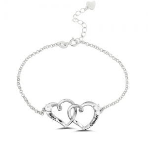 Custom Double Heart Engraved Names Bracelet Sterling Silver