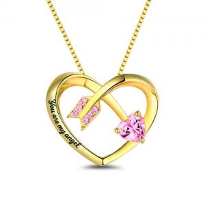 Collar personalizado piedra de nacimiento con forma de corazón y flecha de amor chapado en oro