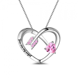 Personalized Love Arrow Birthstone Heart Necklace Sterling Silver